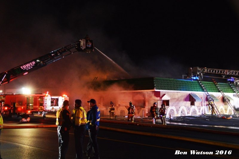 Engine & Tower on Manheim Township Building Fire